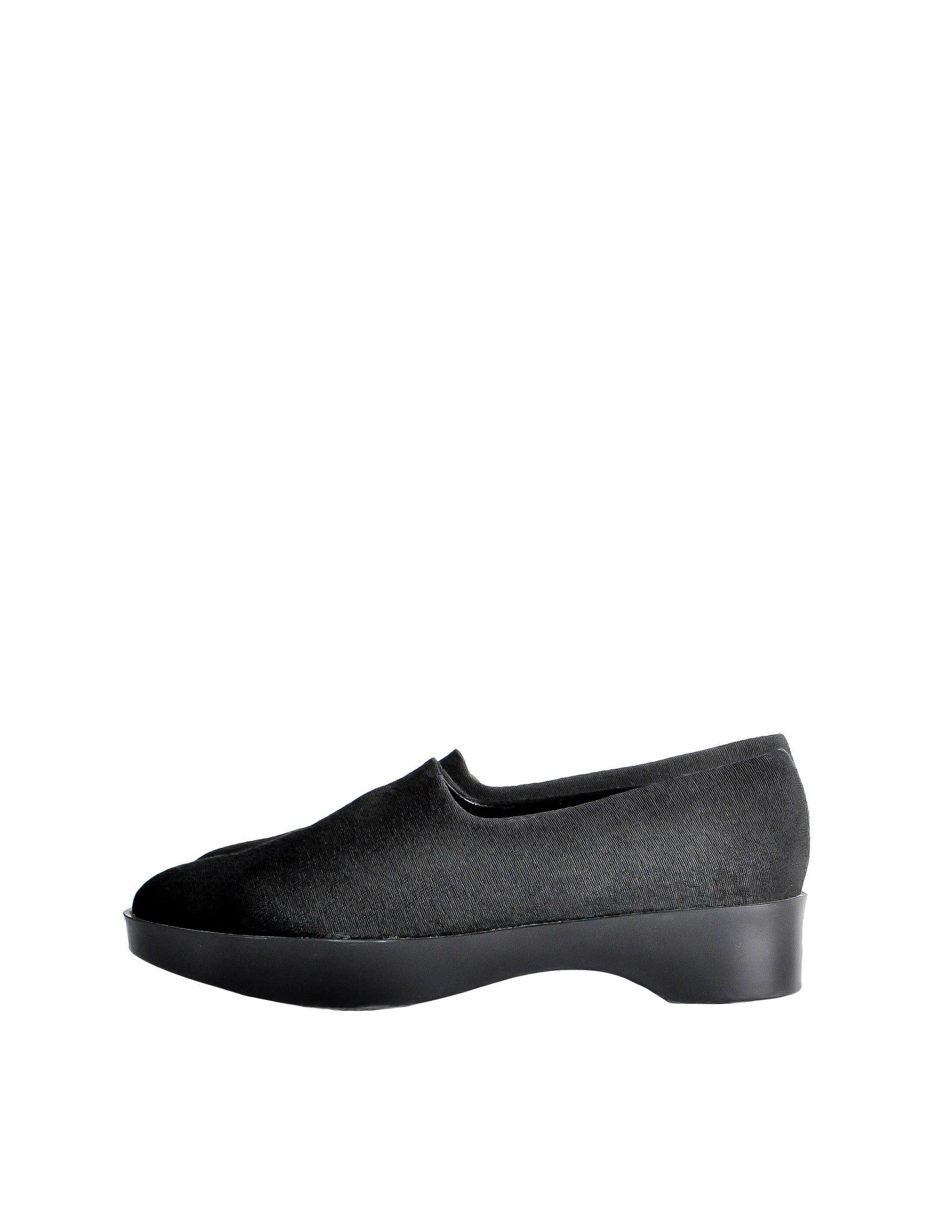 Robert Clergerie Vintage Black Stretch Platform Slip On Shoes - Amarcord Vintage Fashion  - 1