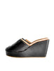Robert Clergerie Vintage Black Leather Peep Toe Platform Mules - Amarcord Vintage Fashion  - 1