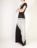 Roberta di Camerino Vintage Black White Grey Graphic Print Maxi Dress