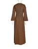 Roberta di Camerino Vintage 1978 Brown Trompe L'oeil Bow Maxi Dress