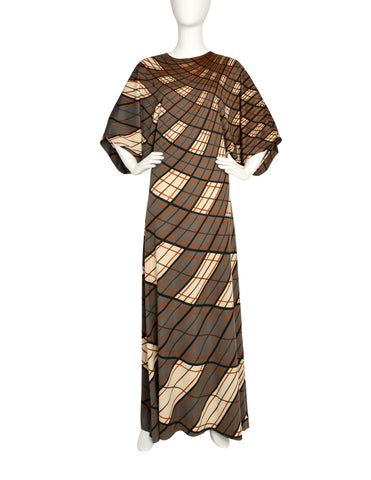 Roberta di Camerino Vintage 1978 Green and Brown Plaid Maxi Dress