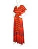 Roberta di Camerino Vintage 1978 Firey Red and Orange Striped Waves Maxi Dress