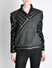 Roberto Cavalli Vintage Black & Grey Geometric Print Leather Jacket - Amarcord Vintage Fashion  - 2