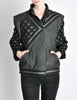 Roberto Cavalli Vintage Black & Grey Geometric Print Leather Jacket - Amarcord Vintage Fashion  - 5