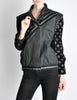 Roberto Cavalli Vintage Black & Grey Geometric Print Leather Jacket - Amarcord Vintage Fashion  - 4