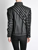 Roberto Cavalli Vintage Black & Grey Geometric Print Leather Jacket - Amarcord Vintage Fashion  - 8