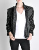 Roberto Cavalli Vintage Black & Grey Geometric Print Leather Jacket - Amarcord Vintage Fashion  - 3