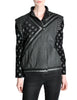 Roberto Cavalli Vintage Black & Grey Geometric Print Leather Jacket - Amarcord Vintage Fashion  - 1