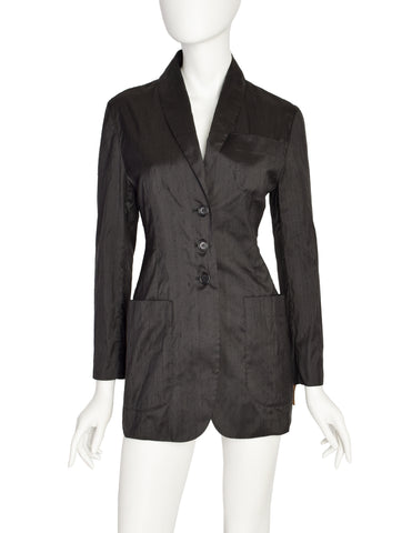 Romeo Gigli Vintage 1996 Black Raw Silk Cut Out Back Blazer Jacket