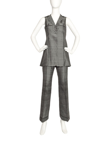 Romeo Gigli Vintage 1997 Black White Grid Raw Silk Vest Top and Pants Set