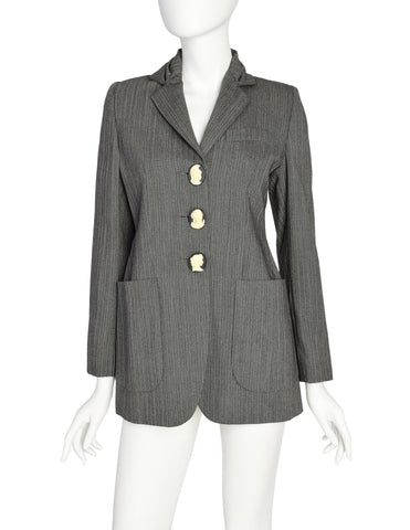 Romeo Gigli Vintage 1995 Grey Morning Stripe Gathered Collar Cameo Button Wool Blazer Jacket