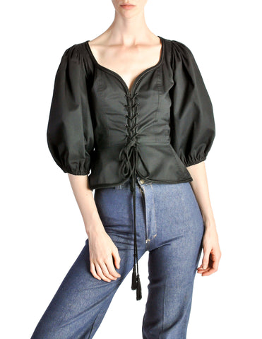 Saint Laurent Vintage Russian Collection Black Corset Top
