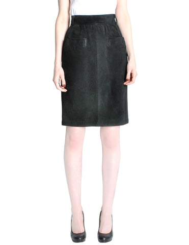 Saint Laurent Rive Gauche Vintage Black Suede Skirt