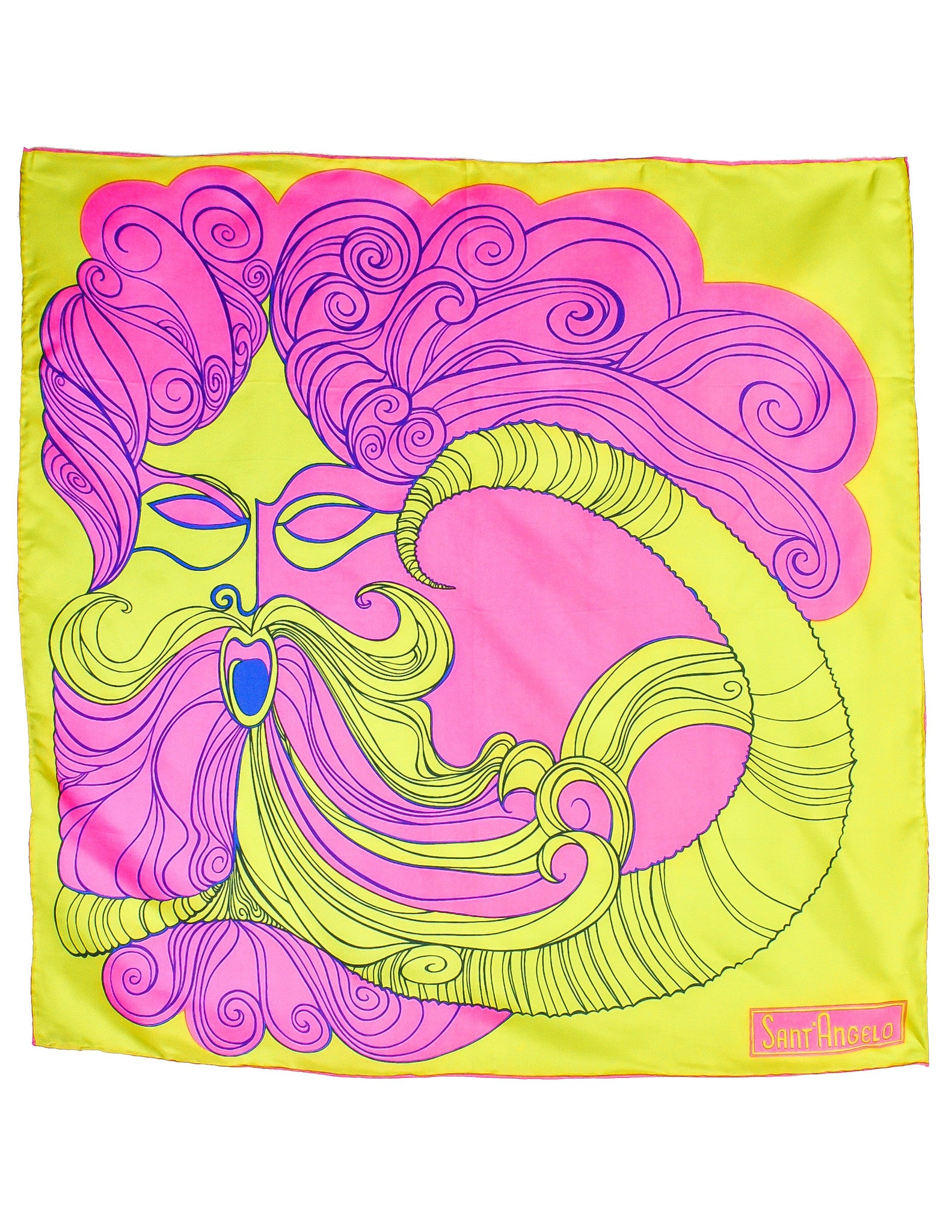 Sant'Angelo Vintage Hot Pink and Chartreuse Silk Scarf - Amarcord Vintage Fashion  - 1