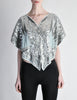 Vintage 1970s Silver Sequin Beaded Butterfly Top - Amarcord Vintage Fashion  - 5