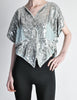 Vintage 1970s Silver Sequin Beaded Butterfly Top - Amarcord Vintage Fashion  - 3