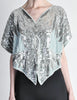 Vintage 1970s Silver Sequin Beaded Butterfly Top - Amarcord Vintage Fashion  - 2