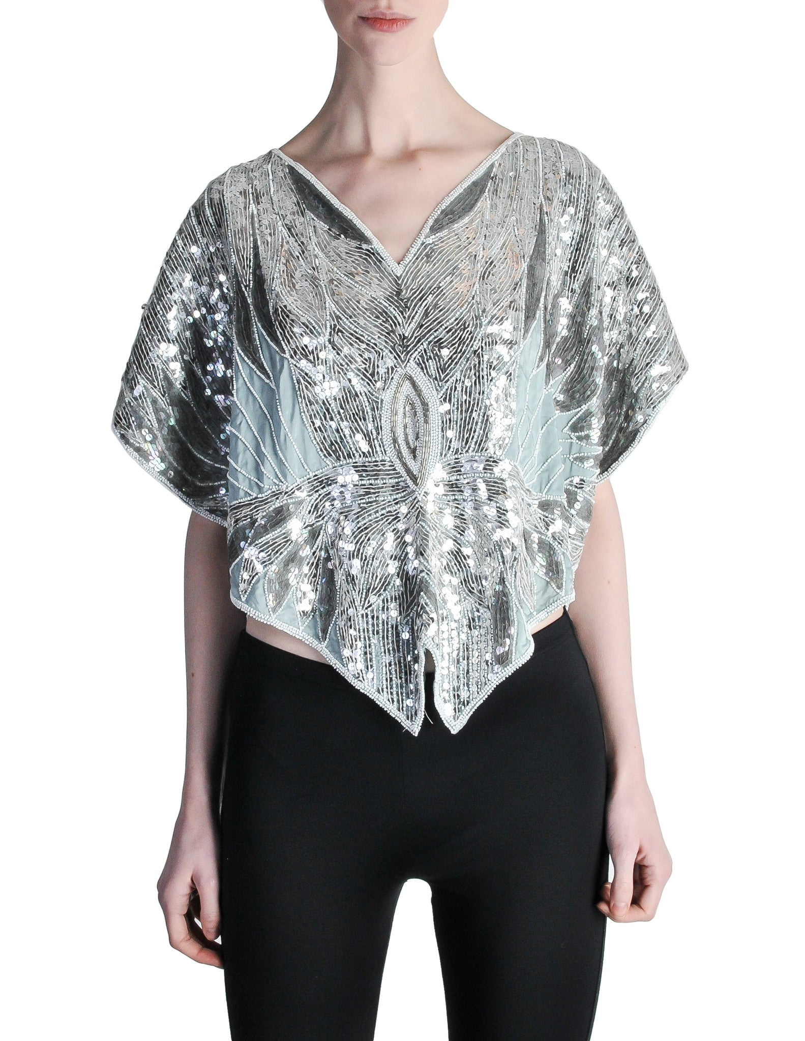 Vintage 1970s Silver Sequin Beaded Butterfly Top - Amarcord Vintage Fashion  - 1