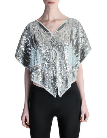 Vintage 1970s Silver Sequin Beaded Butterfly Top