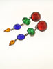 Sonia Rykiel Inscription Vintage Multicolor Rhinestone Drop Earrings - Amarcord Vintage Fashion  - 2