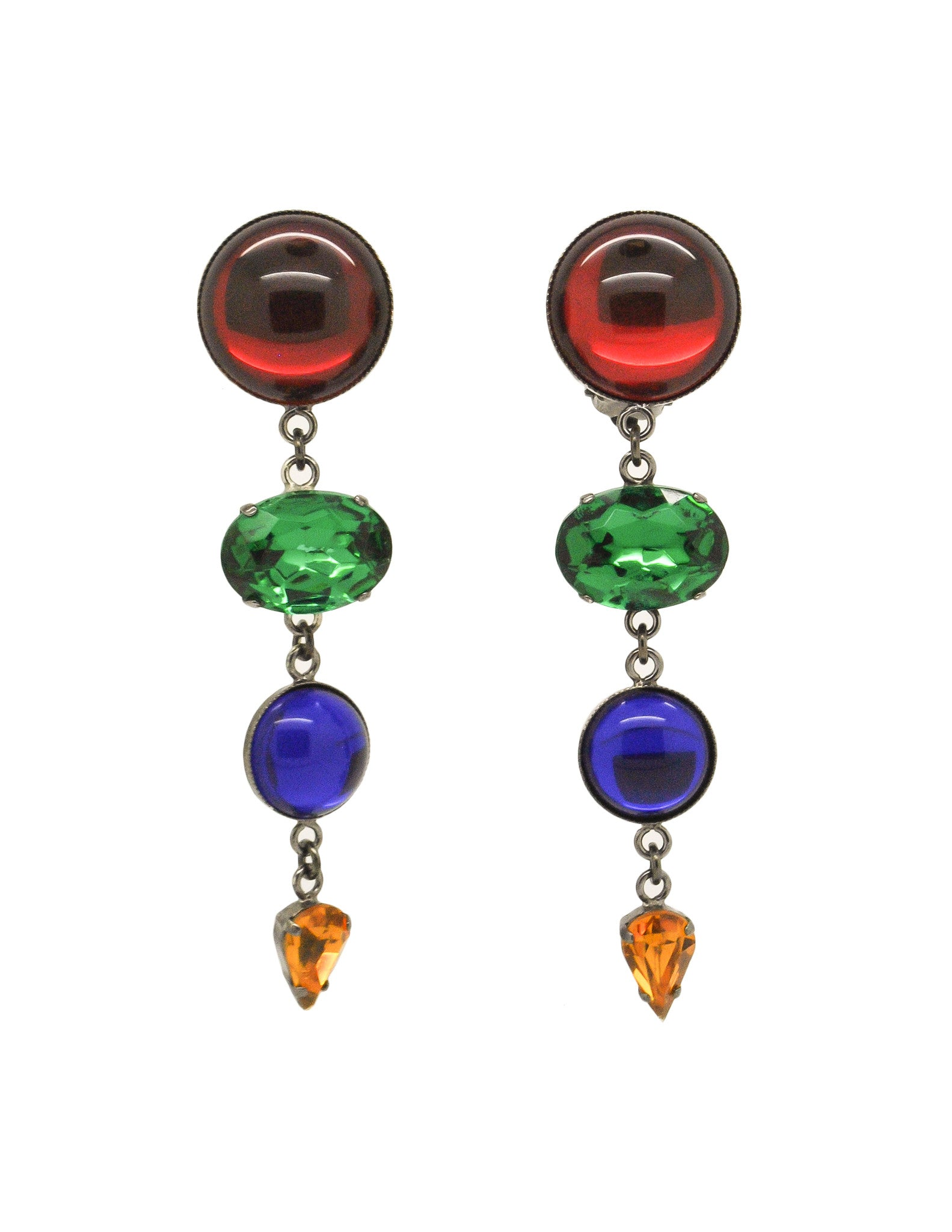 Sonia Rykiel Inscription Vintage Multicolor Rhinestone Drop Earrings - Amarcord Vintage Fashion  - 1