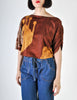 Spazio Vintage Brown Graphic Patterned Cropped Top - Amarcord Vintage Fashion  - 2