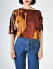 Spazio Vintage Brown Graphic Patterned Cropped Top - Amarcord Vintage Fashion  - 3
