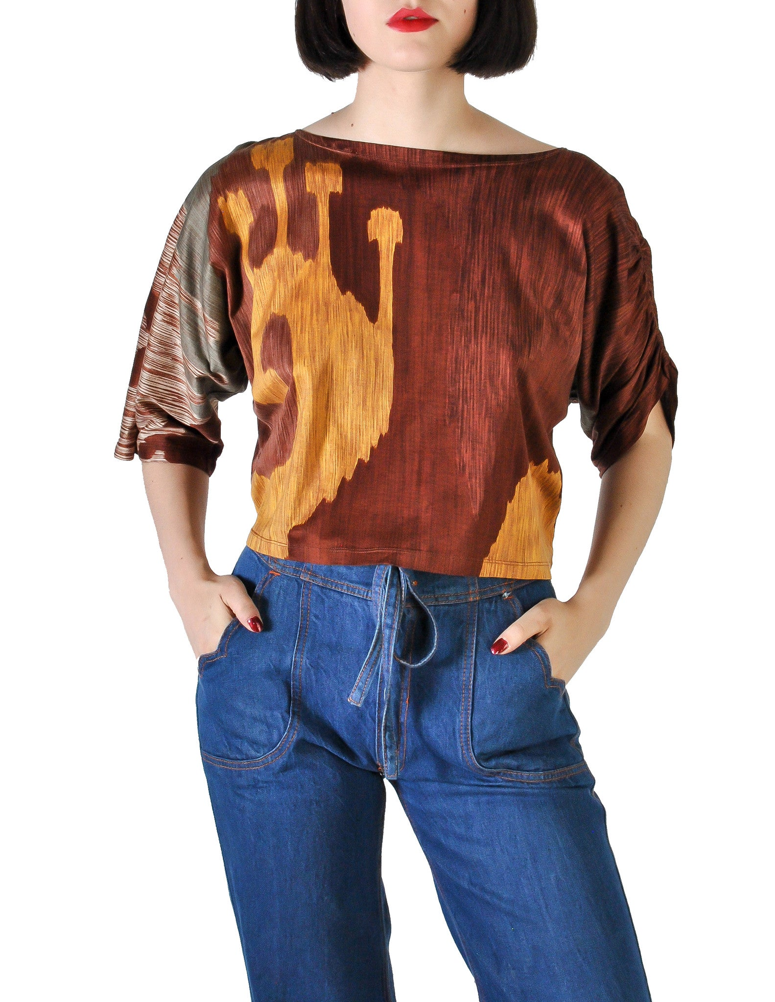 Spazio Vintage Brown Graphic Patterned Cropped Top - Amarcord Vintage Fashion  - 1