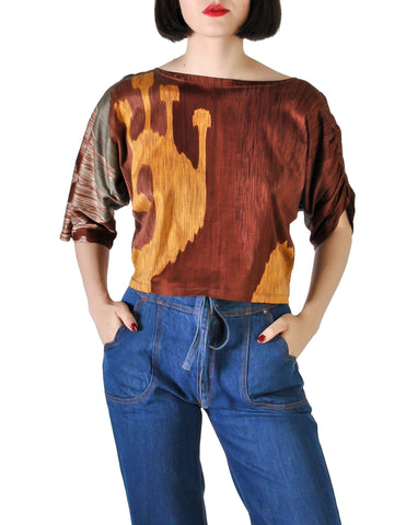 Spazio Vintage Brown Graphic Patterned Cropped Top