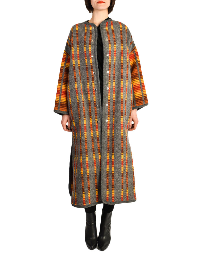 Stephen Burrows Vintage Felted Wool Grey Op Art Blanket Coat