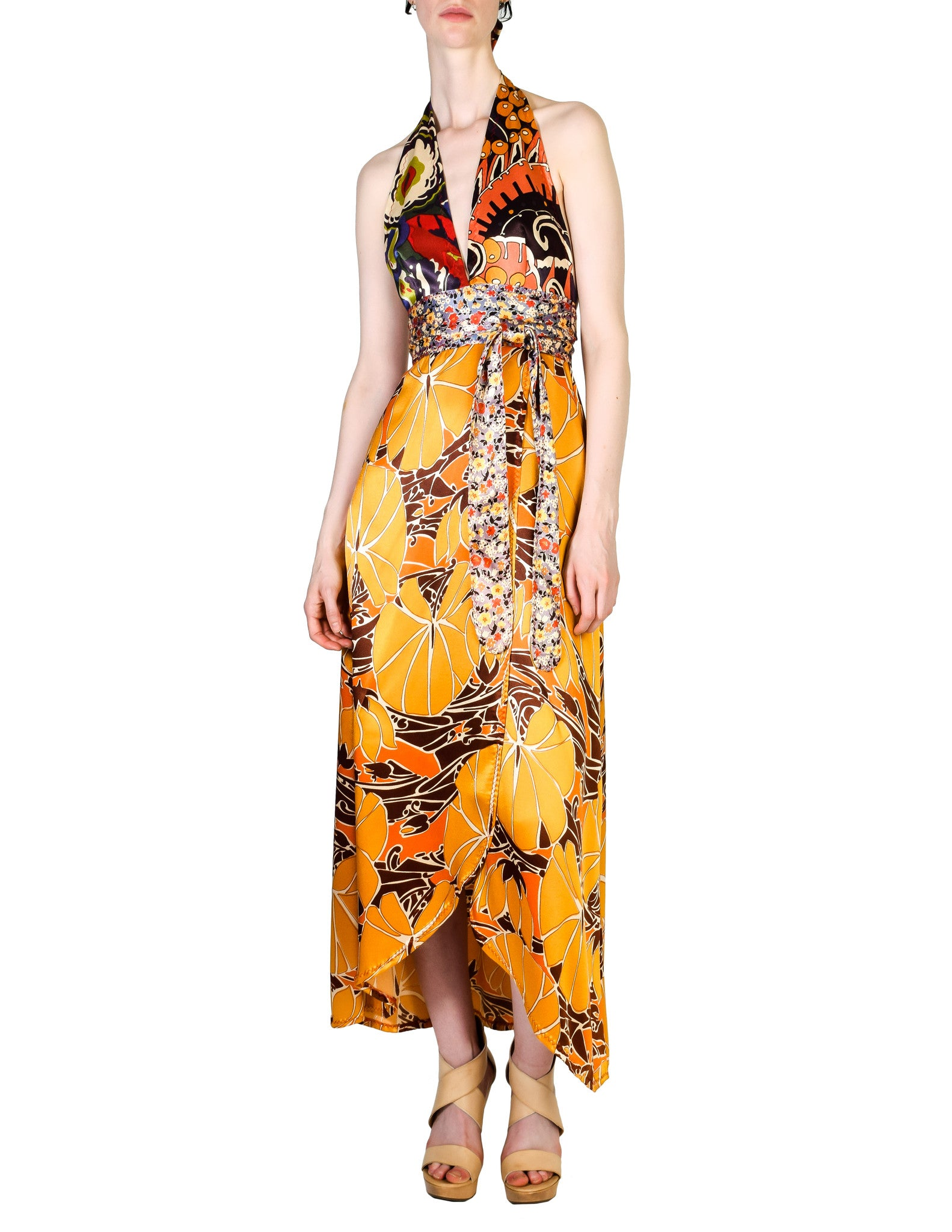 Stephen Burrows Vintage Floral Halter Wrap Dress - Amarcord Vintage Fashion  - 1