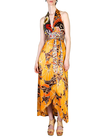 Stephen Burrows Vintage Floral Halter Wrap Dress