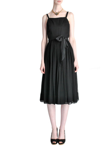 Suzy Perette Vintage Black Silk Crepe Dress