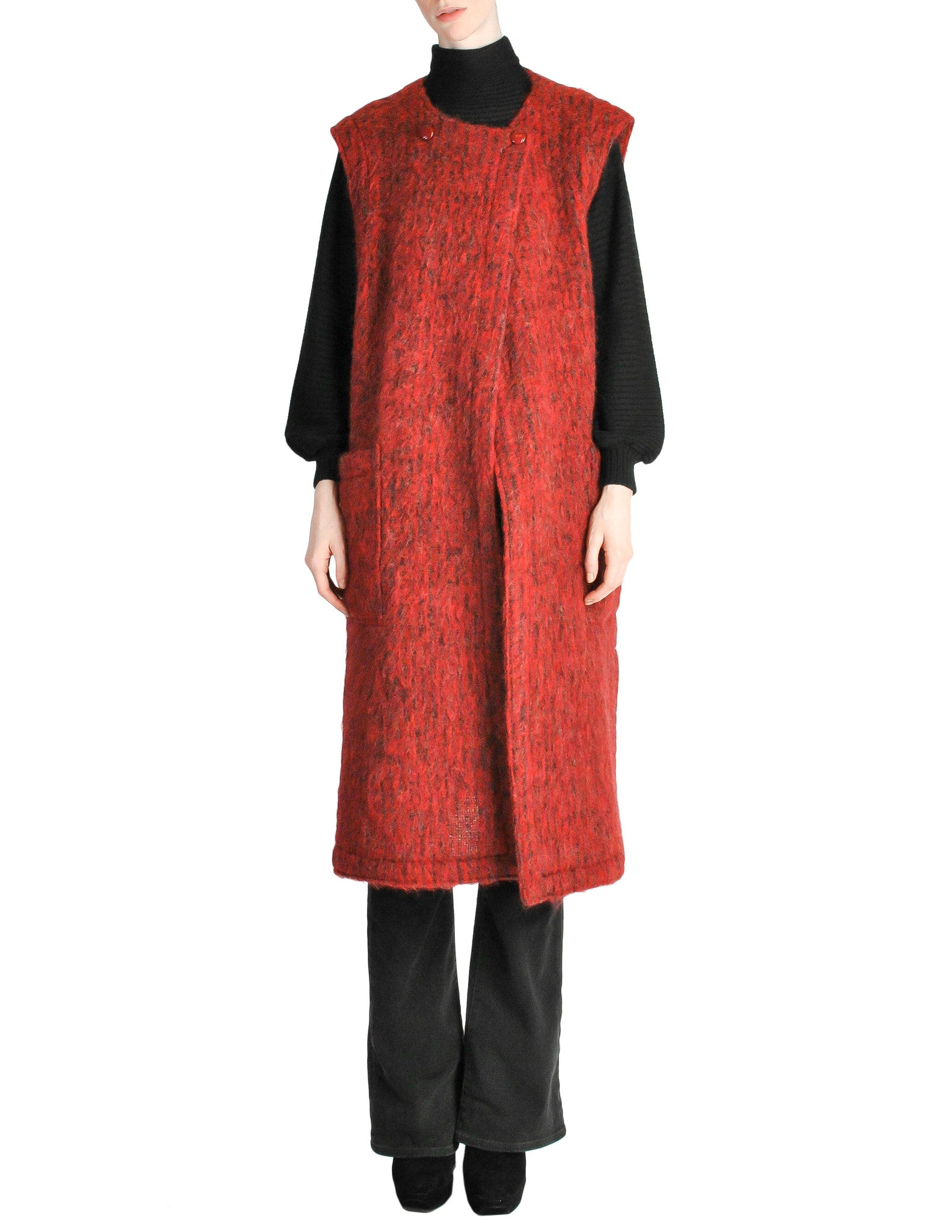 Ted Lapidus Vintage Burnt Red Mohair Maxi Vest - Amarcord Vintage Fashion  - 1