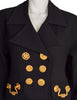 Todd Oldham Vintage 1992 Black Wool Gold Drawer Pull Hardware Blazer Jacket