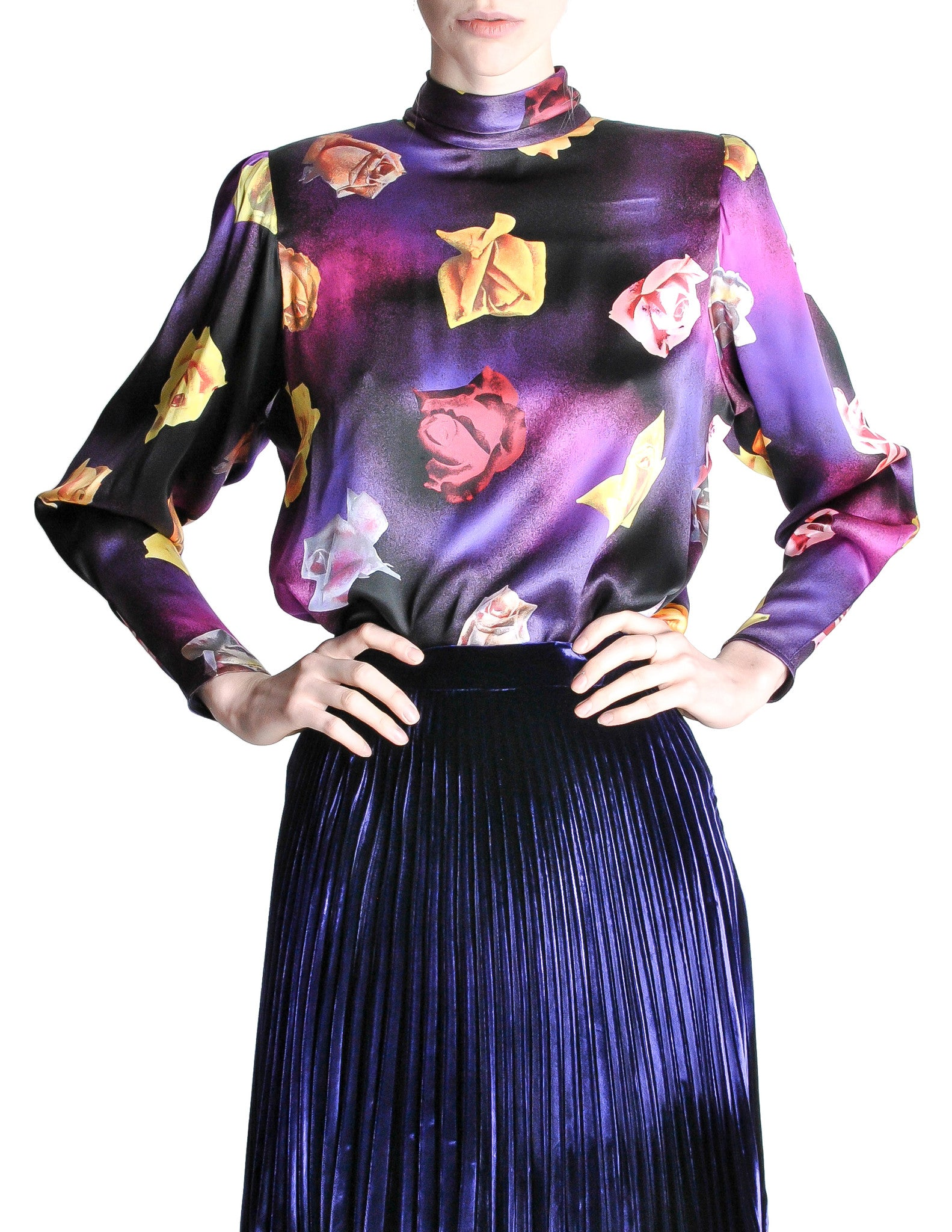 Ungaro Vintage Art Rose Print Top - Amarcord Vintage Fashion  - 1