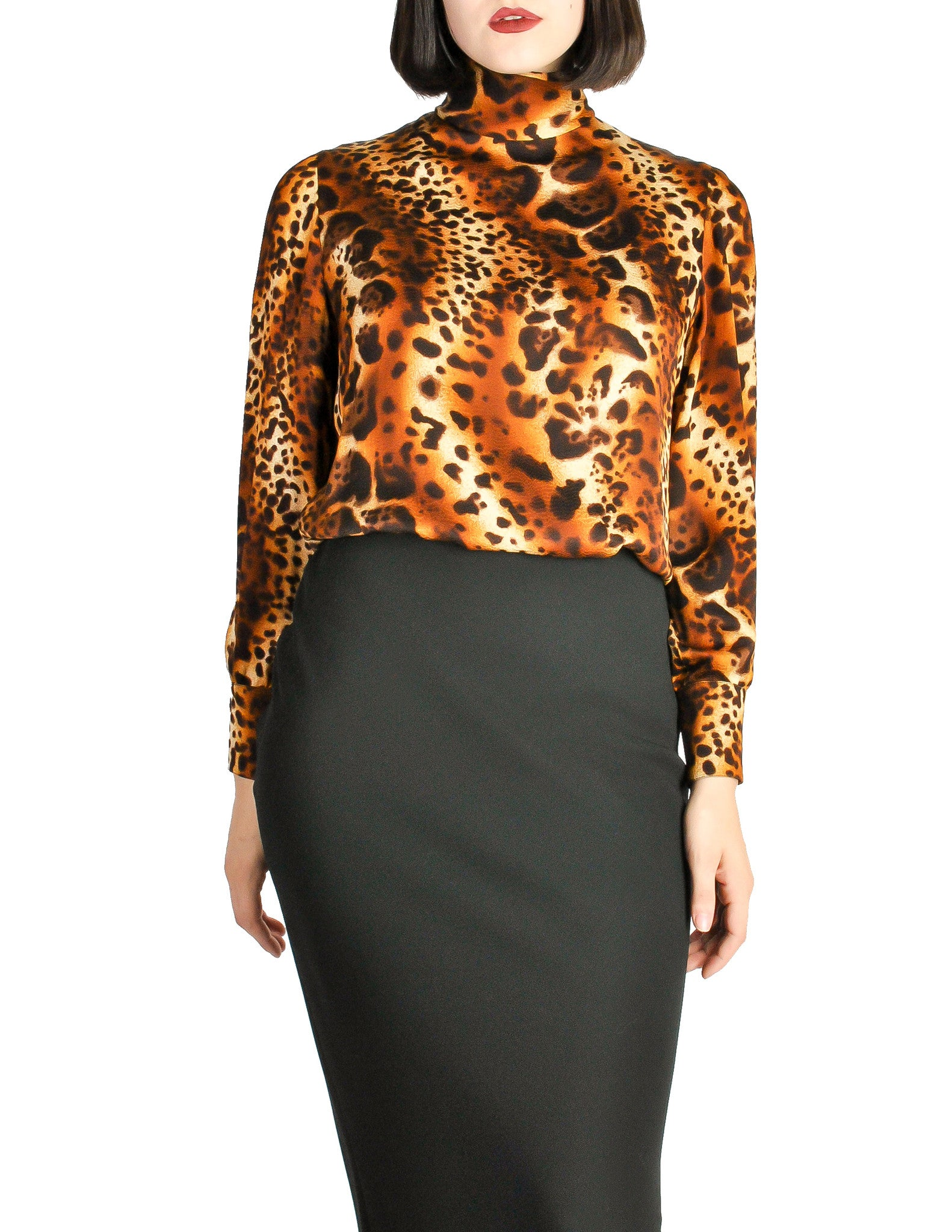 Ungaro Vintage Leopard Print Silk Turtleneck Top - Amarcord Vintage Fashion  - 1