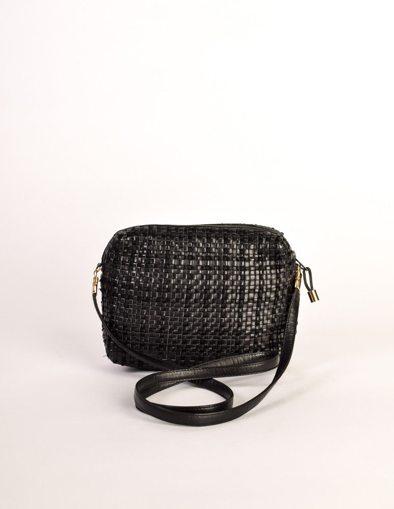 53bfdd650 Valentino Vintage Black Woven Leather Crossbody Bag - Amarcord Vintage  Fashion - 4