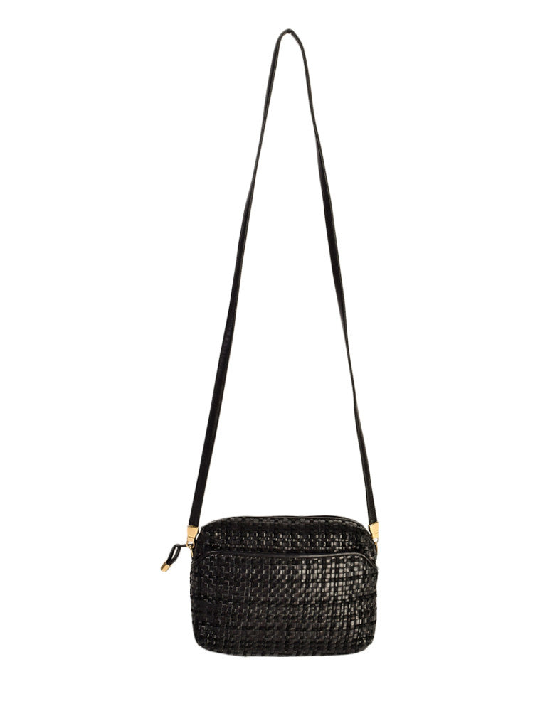 Valentino Vintage Black Woven Leather Crossbody Bag - Amarcord Vintage Fashion  - 1
