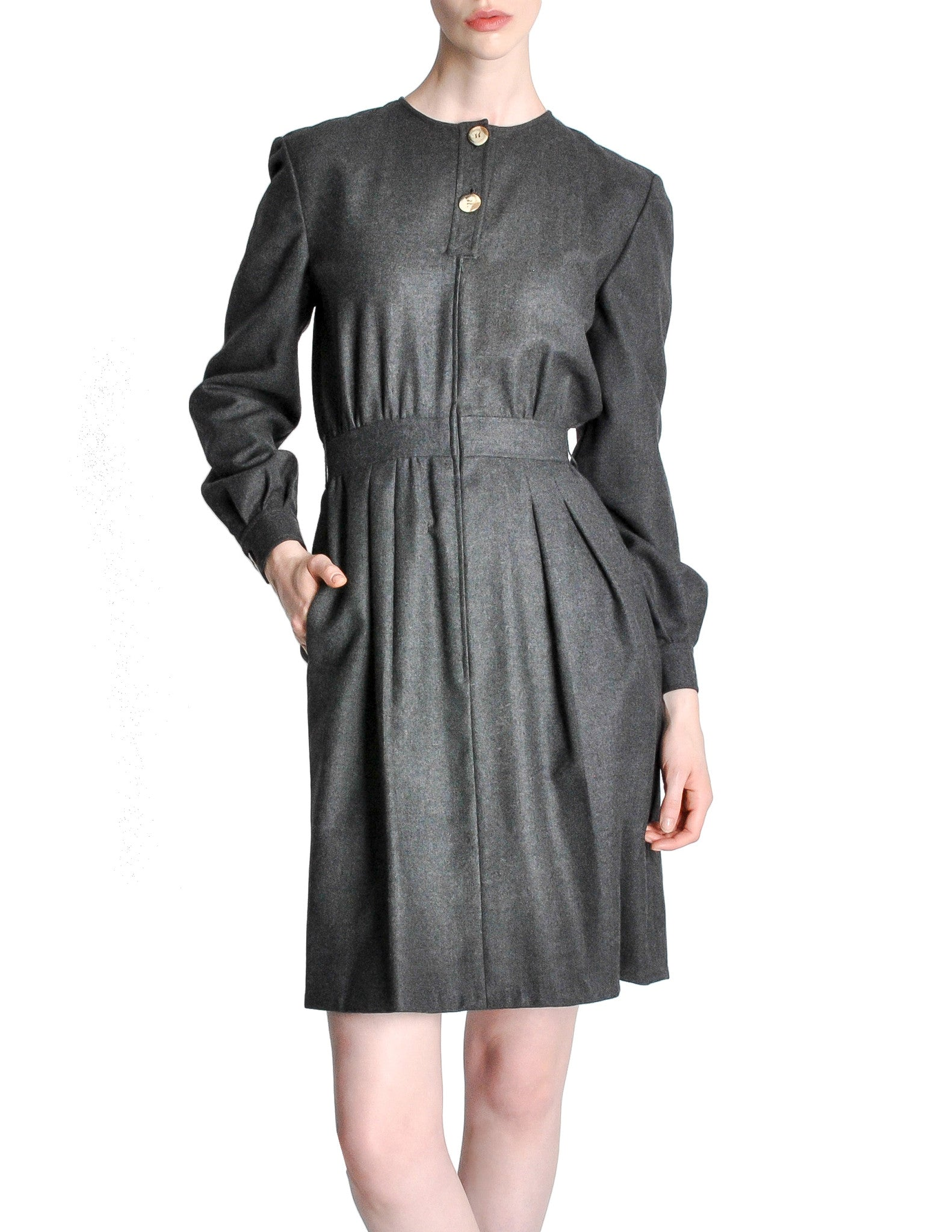 Valentino Vintage Charcoal Grey Wool Dress - Amarcord Vintage Fashion  - 1