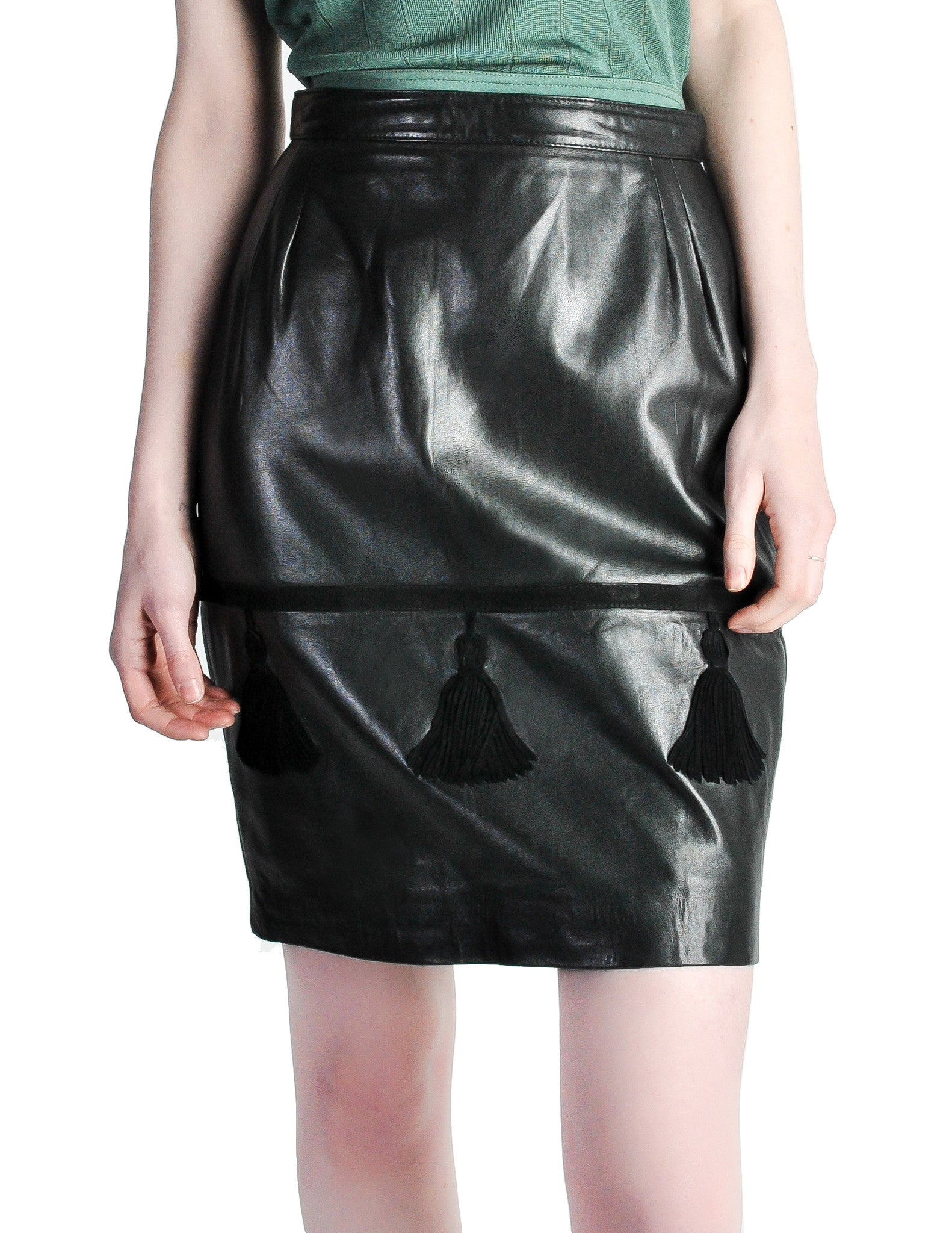 c96f0c00eb Valentino Vintage Leather Pencil Skirt - from Amarcord Vintage Fashion