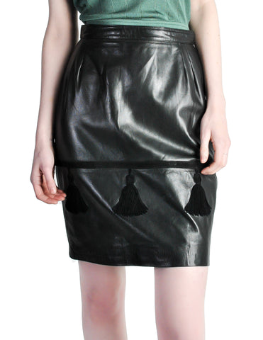 Valentino Vintage Leather Pencil Skirt
