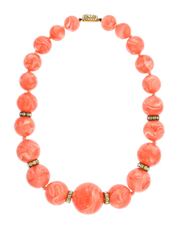 Valentino Vintage Coral Pink Swirl Rhinestone Beaded Bauble Necklace