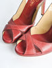 Valentino Vintage Red Leather Strappy Heels - Amarcord Vintage Fashion  - 4