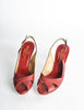 Valentino Vintage Red Leather Strappy Heels - Amarcord Vintage Fashion  - 3