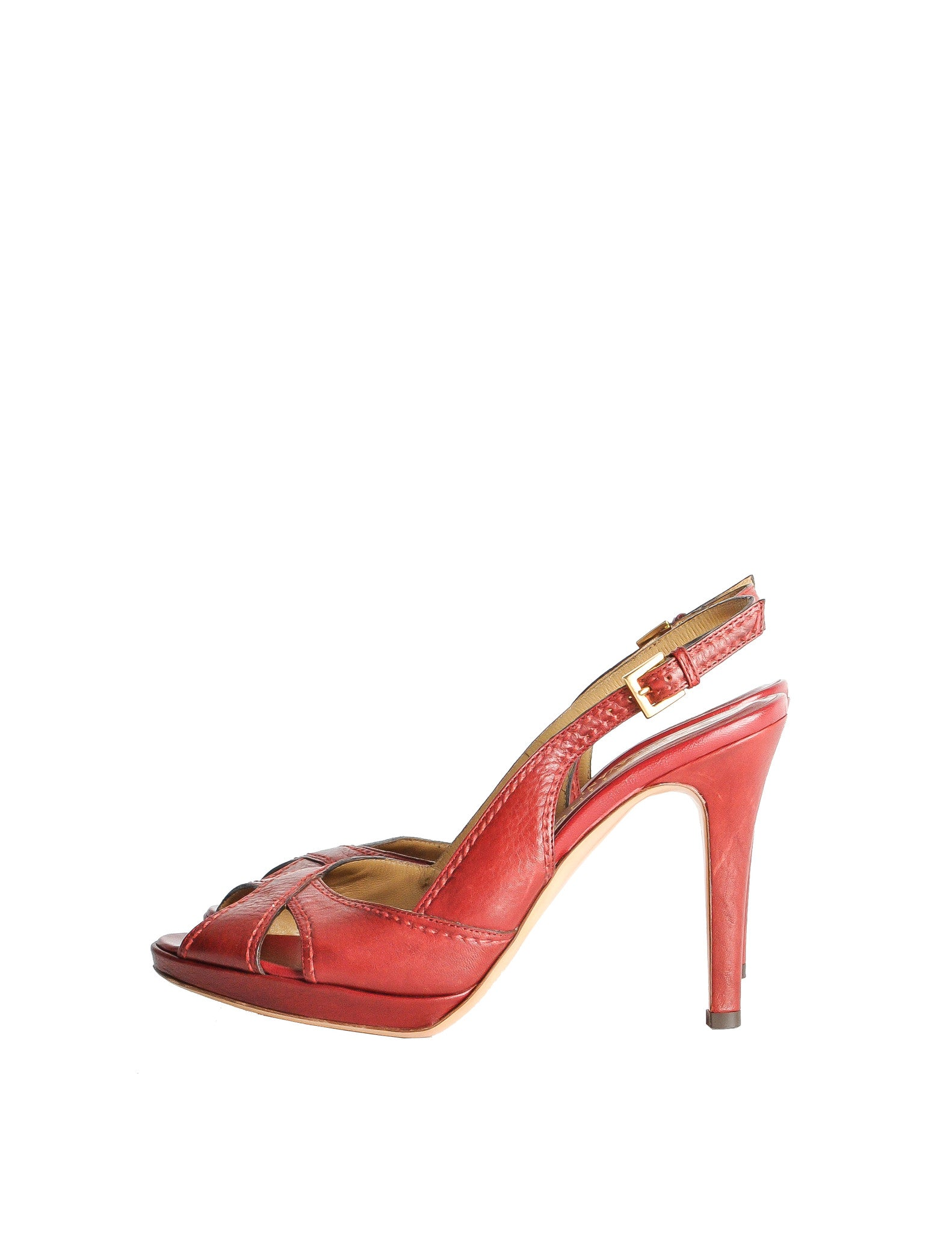 Valentino Vintage Red Leather Strappy Heels - Amarcord Vintage Fashion  - 1