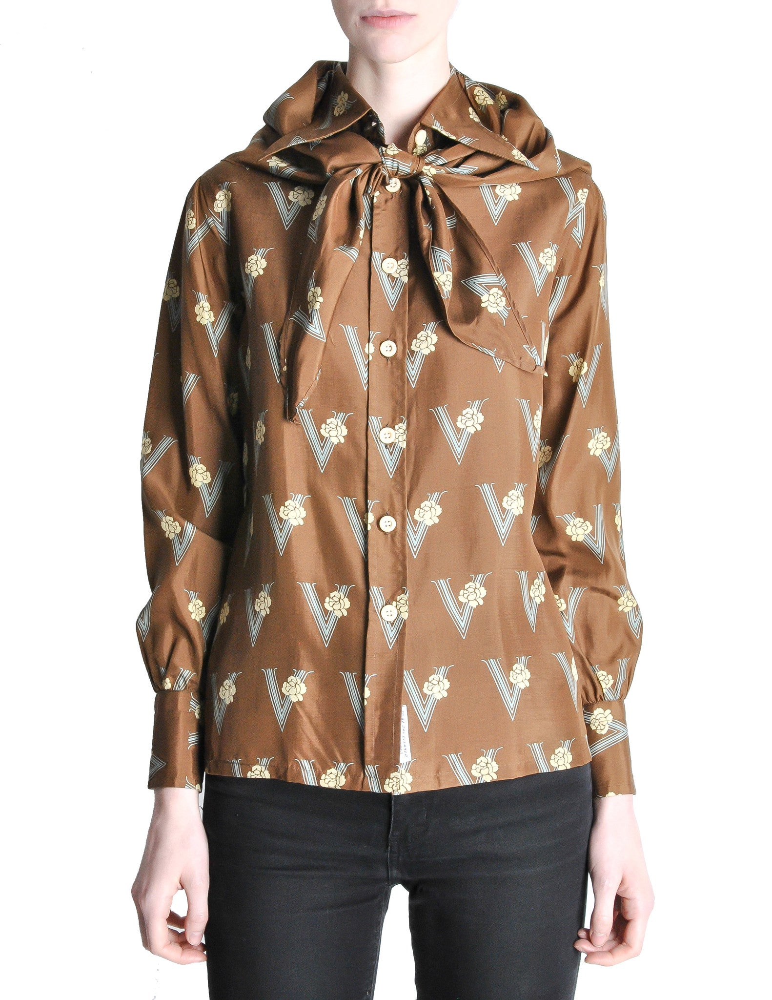Valentino Vintage V Monogram Print Silk Shirt with Scarf - Amarcord Vintage Fashion  - 1