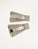Gianni Versace Vintage Silver Geometric Ribbed Rhinestone Earrings
