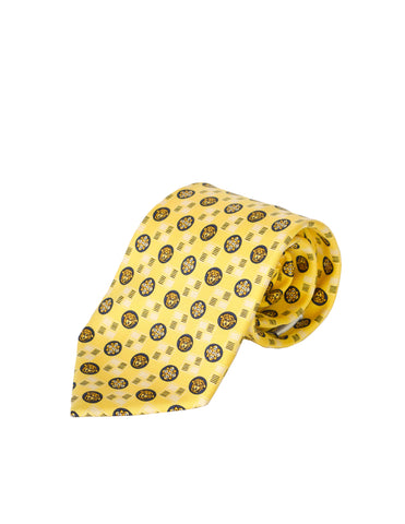 Versace Vintage Yellow and Black Medusa Silk Neck Tie
