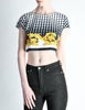Versace Vintage Checkered Baroque Crop Top - Amarcord Vintage Fashion  - 3